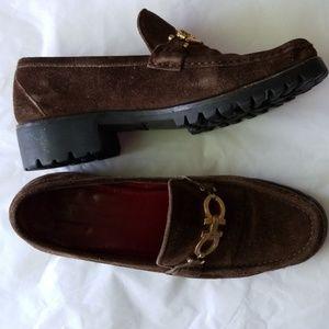 Salvatore Ferragamo brown suede sturdy loafer shoe